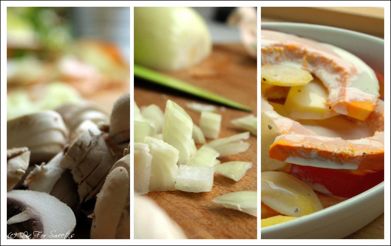 Champignons in Scheiben geschnitten, Zwiebel gewürfelt, Kuerbisspalten und Kartoffelscheiben in Auflaufform mit Soja-Creme übergossen