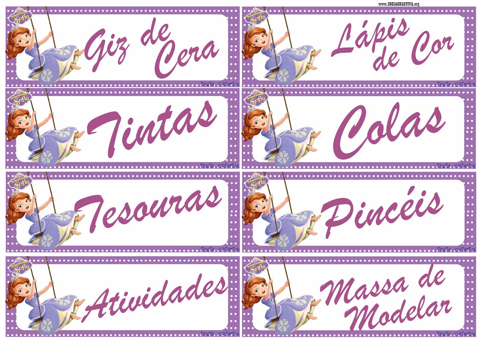 Etiquetas para Organizar Material e escrever nome das crianças Princesinha Sofia