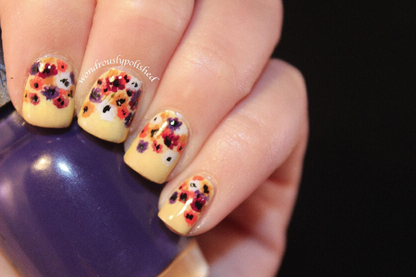 Wondrously Polished February Nail Art Challenge Day 2 Flowers