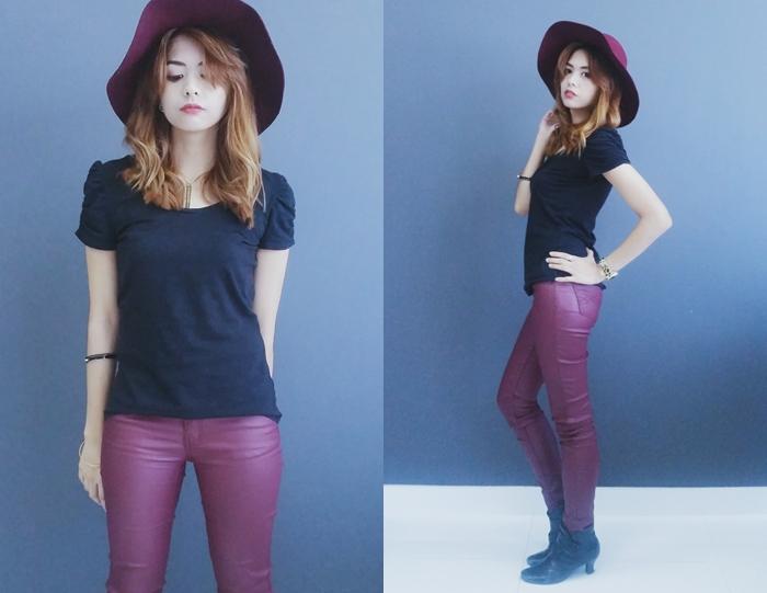 Fashion Blog Rebel Nylon Outfit Style Black Maroon