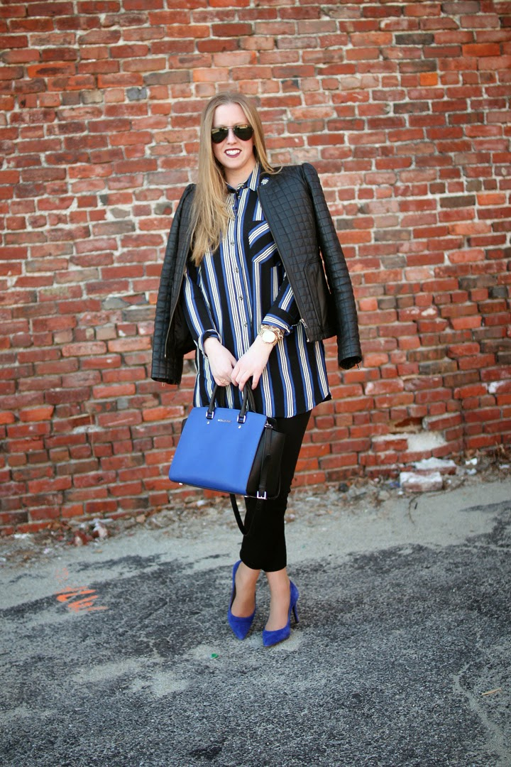 boston style blog, boston fashion blogger, cobalt outfits, blue and stripe fashion