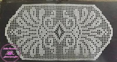 Gráfico de Caminho de mesa-centro de mesa em crochê