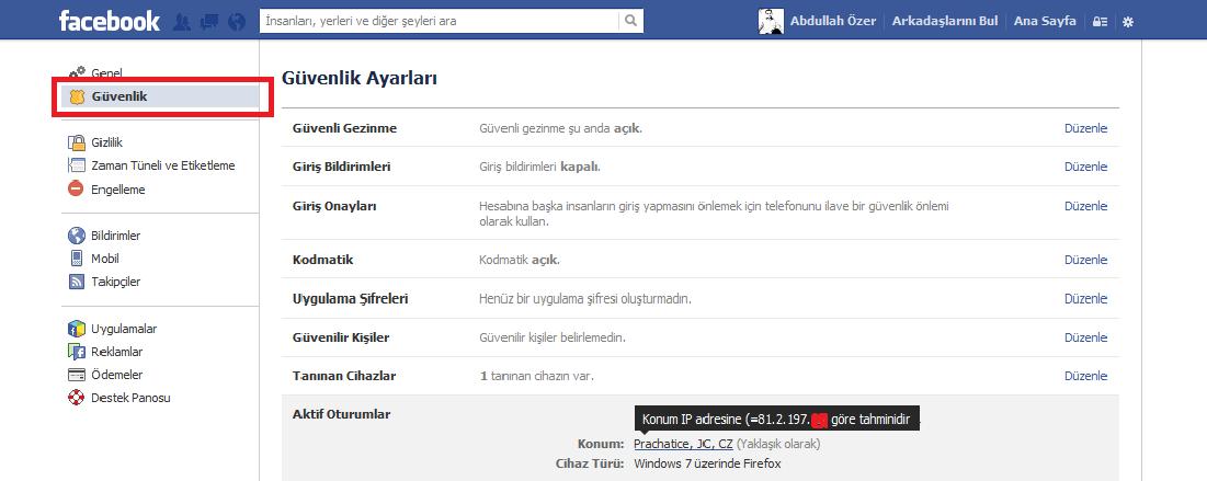 facebooktan ıp adresi bulma