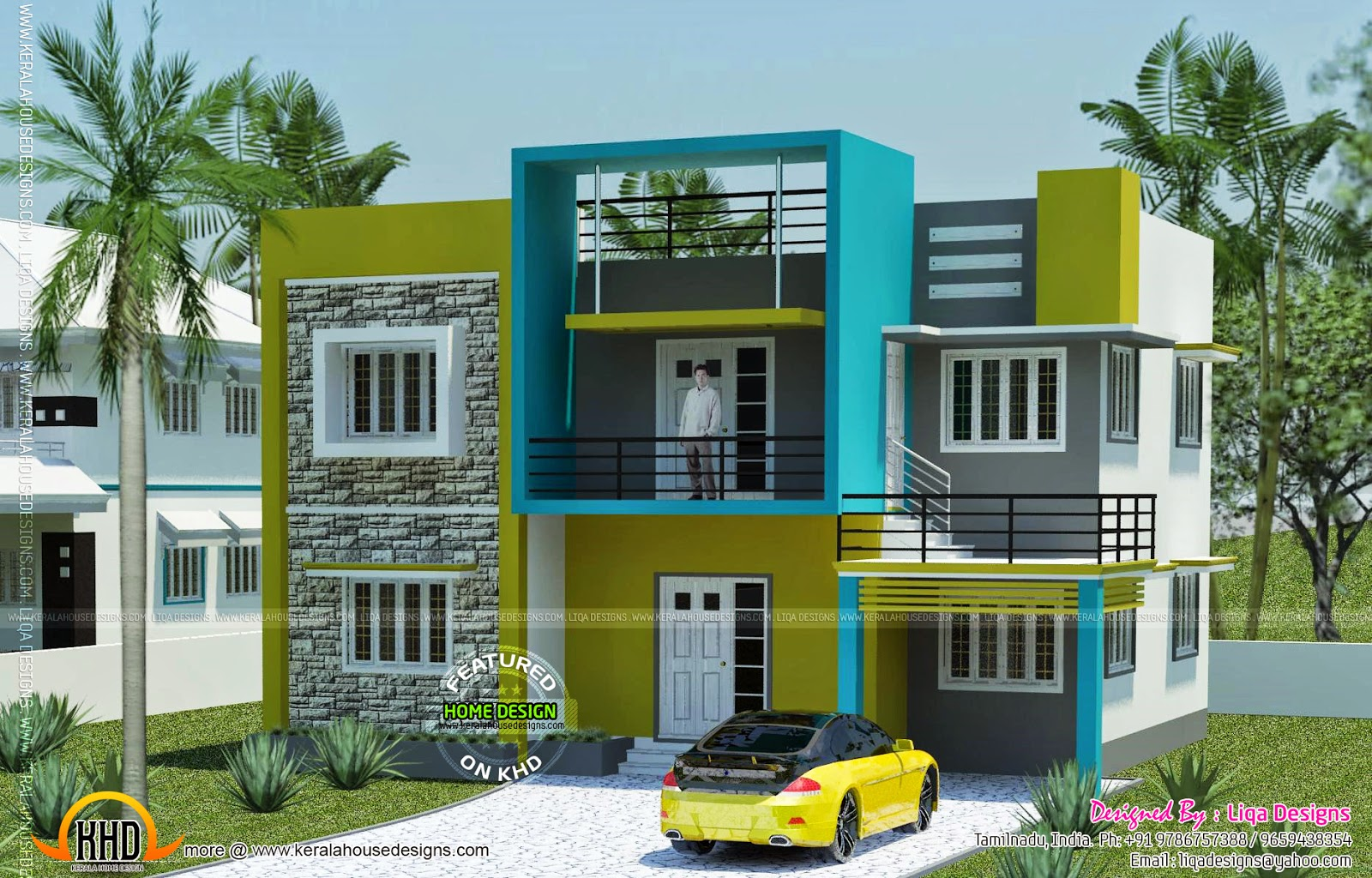 Contemporary house in tamilnadu kerala home design and for Tamilnadu home design photos