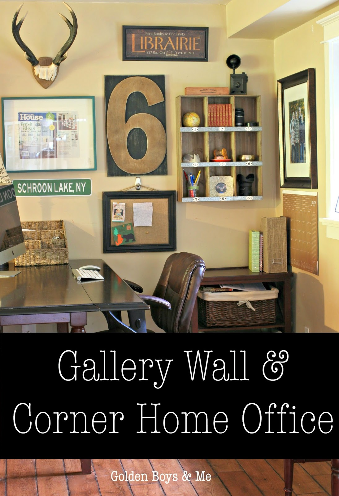 Gallery Wall and Corner Home Office with antlers, Target cubbies and typography-www.goldenboysandme.com