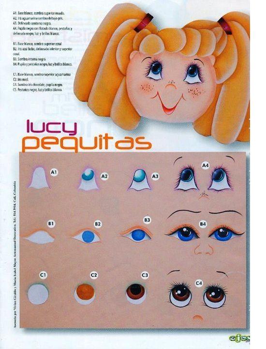 Dibujos y Plantillas para imprimir: pintado ojos de muñecas