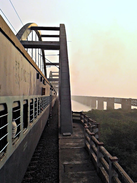 Picture taken while train is crossing the river Godavari