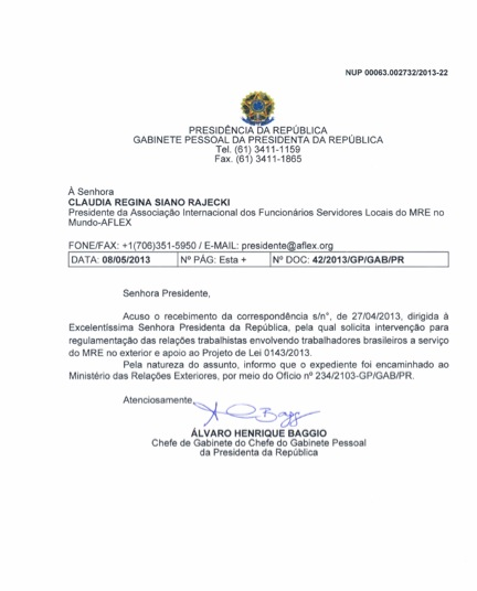Aflex E Opera O Despertar Carta Do Gabinete Da Presidente Dilma Presidente Da Aflex