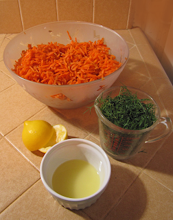 Shredded Carrot, Cup of Fresh Dill, Juiced Lemon