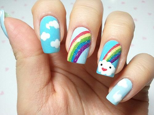 Pretty Filipinas: Rainbow and clouds nail art