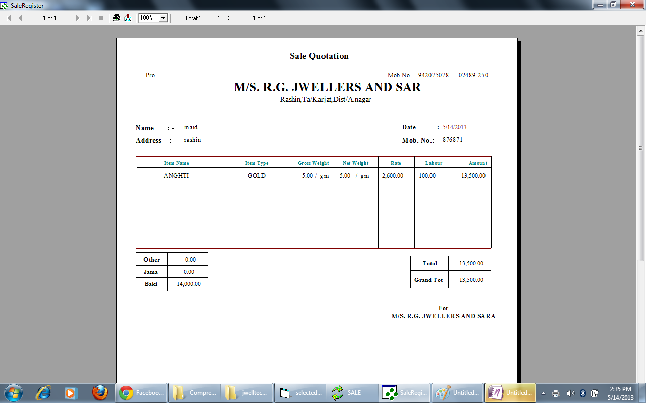 gold jewellery bill format – residers, Invoice templates