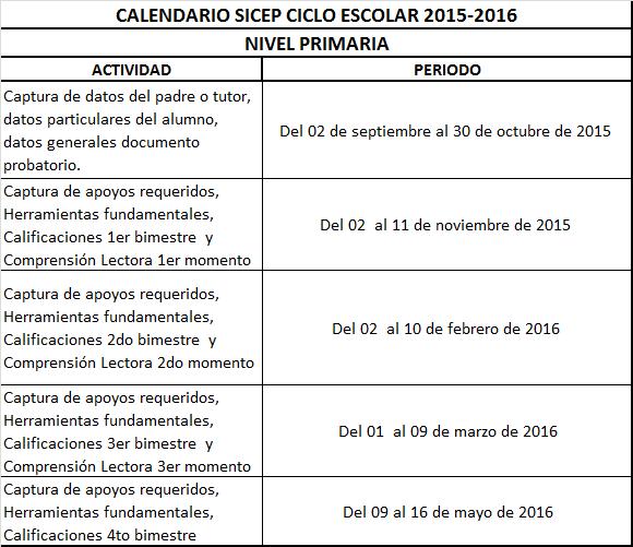 CALENDARIO DE SICEP