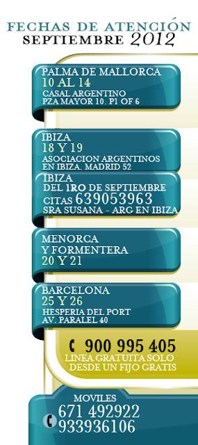 Jubilaciones, fechas de Atención en Baleares y Barcelona