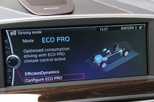 2012 BMW 6 Series Coupe driving mode display