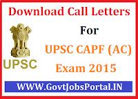 UPSC CAPF(AC) Exam 2015