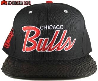 Chicago bulls snake skin strapback custom brim hats for Custom t shirts and hats