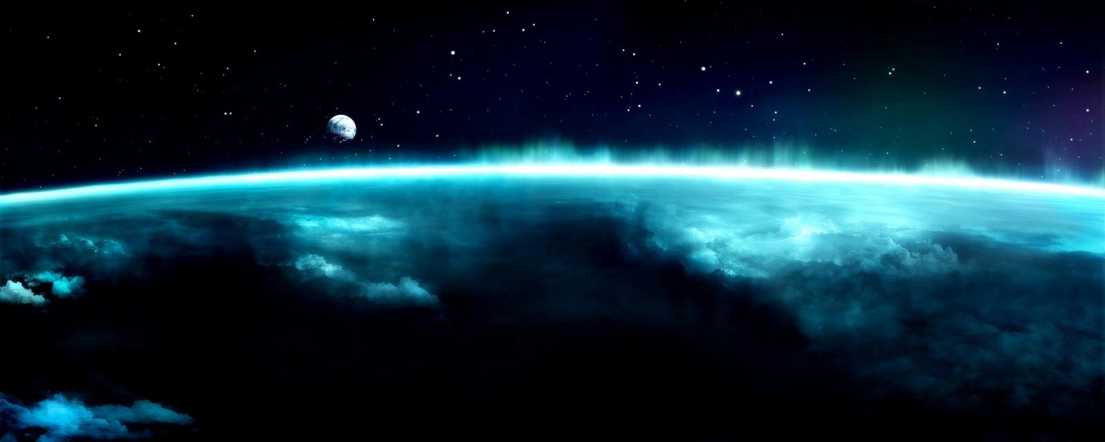 Screen monitor the earth northern lights blue glow beautiful wallpaper