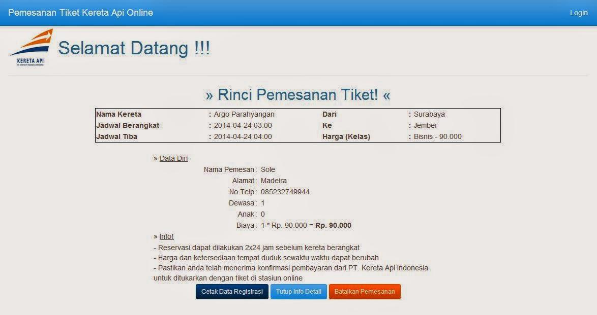 Membuat Pemesanan Tiket Kereta Api Online dengan PHP dan MySQL