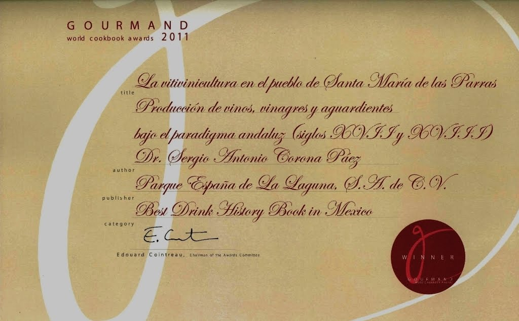 Galardón Gourmand al mejor libro de historia del vino en México