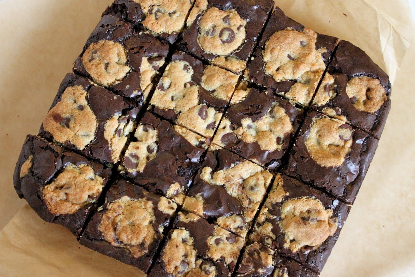 Baked Perfection: Brownies studded with Chocolate Chip Cookies
