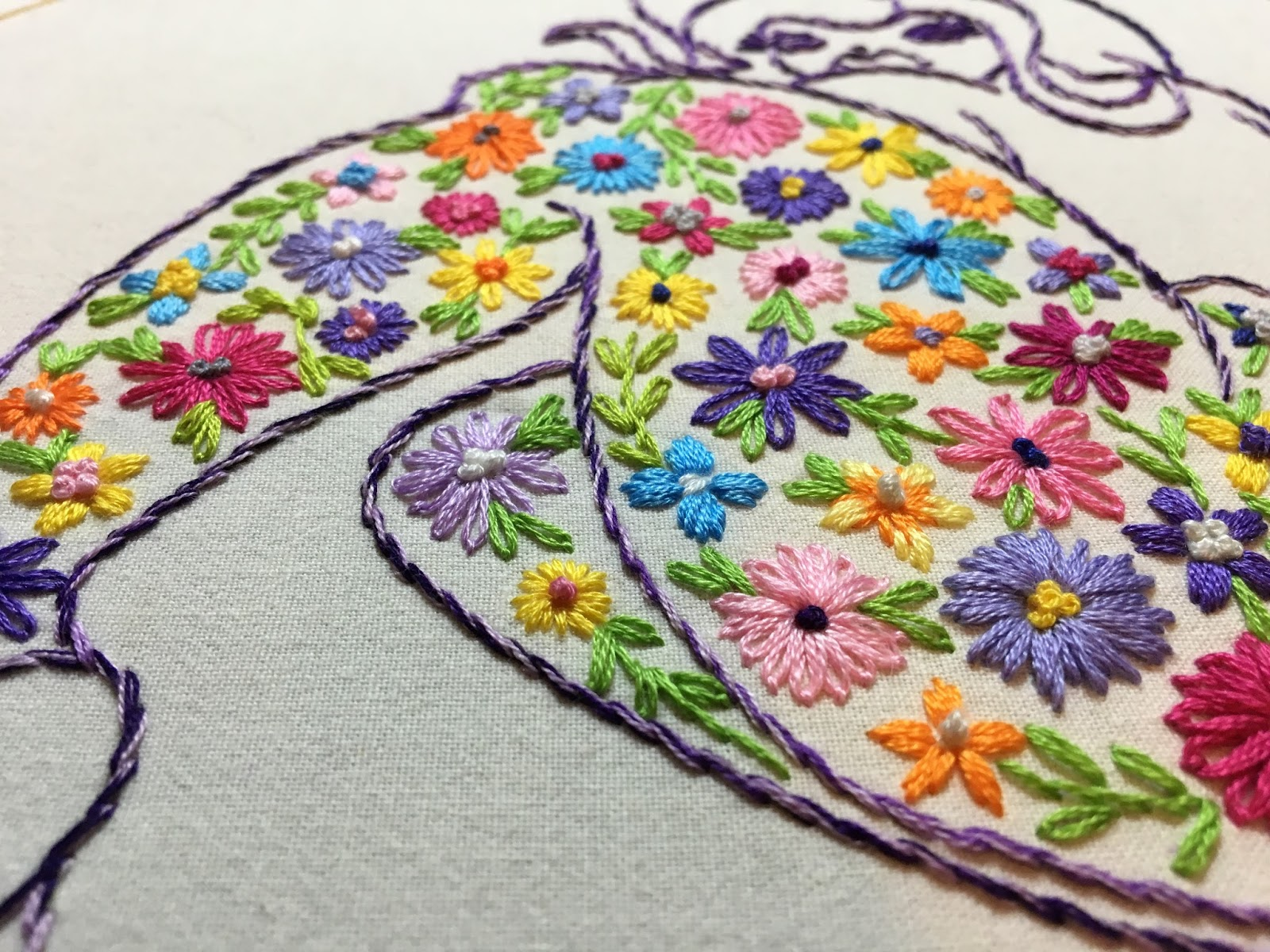 embroidered flowers stitched flowers