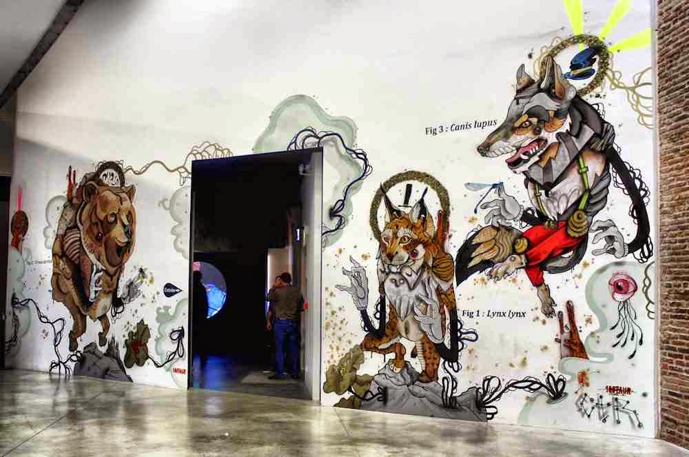 French lowbrow graffiti artist 100TAUR ( pronounced Centaur) has been invited by the Museum of Toulouse to complete a mural on the theme of the 'Big Predators', that is now part of the permanent collections of the Museum.