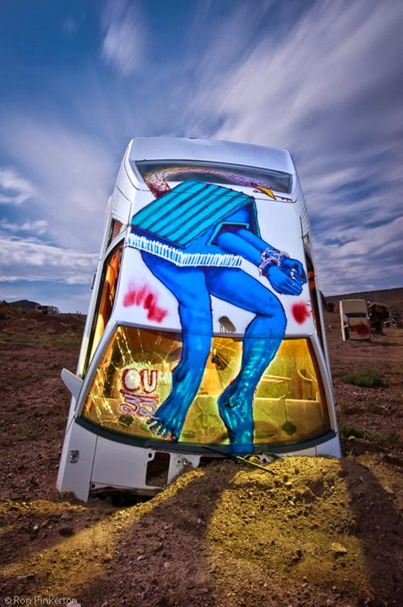 Art Project - International Car of the Secret Forest church in the Nevada desert (USA).