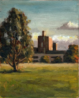 Oil painting of a small eucalypt with a modern hospital building in the background, illuminated by the late afternoon sun.