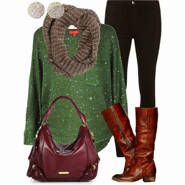Grey knitted scarf, green sweater, black skinnies, shinny brown long boots and handbag
