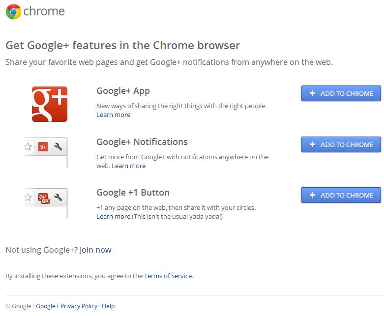 extensao google+ para o Google chrome