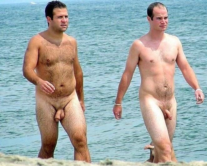 Desnudo grupo de playa aficionado