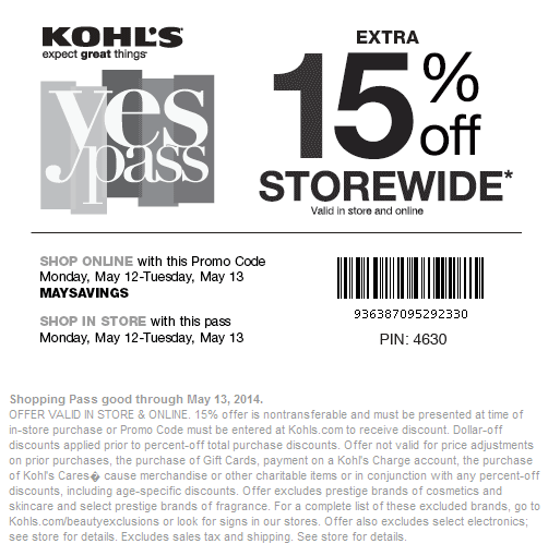 Kohls coupon code may 2018