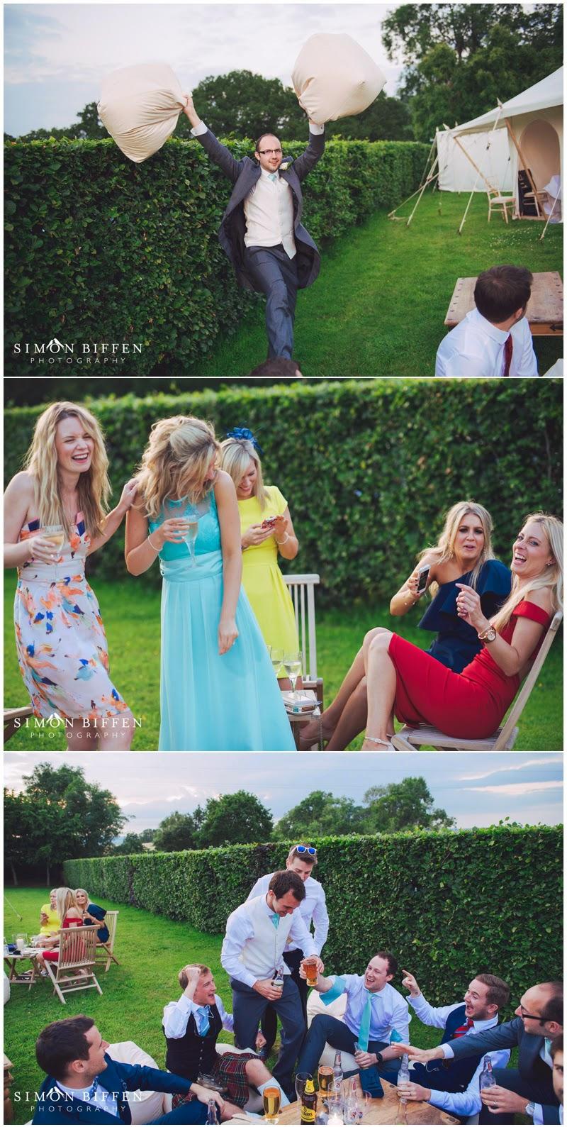 Wedding guests enjoying reception in Somerset