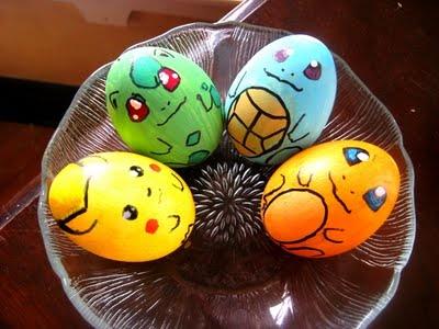 Huevos de Pascua de Pikachu, Bulbasaur, Squirtle y Charmander