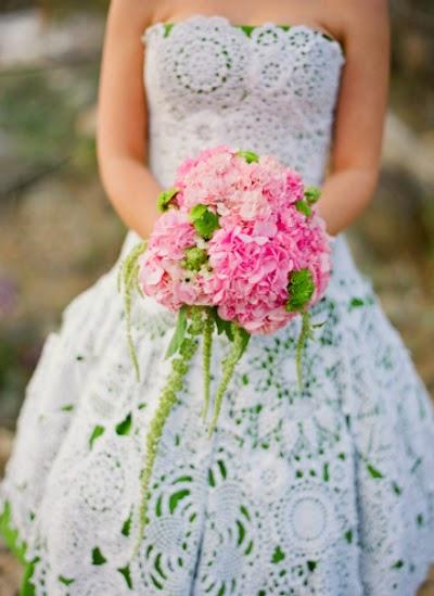 virkattu häämekko, crochet wedding dress