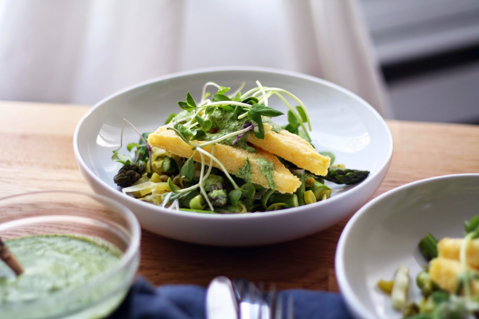 Crispy Polenta Wedges with Spring Greens and a Lemony-Dill Pesto | Sevengrams