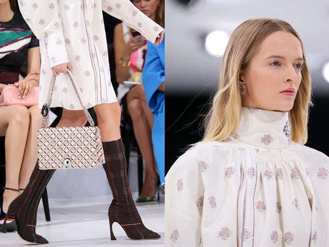 Christian Dior 2015 SS Edwardian Embroidered Turtleneck Cotton Shirt-Dress on Runway