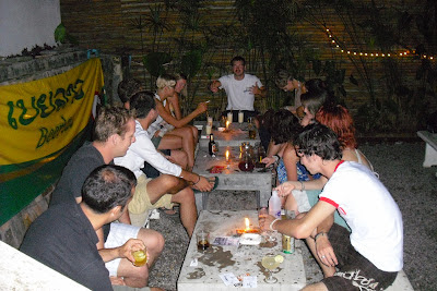 A host of nationalities boozing it up in Laos, with 'Wrong Way' leading by example