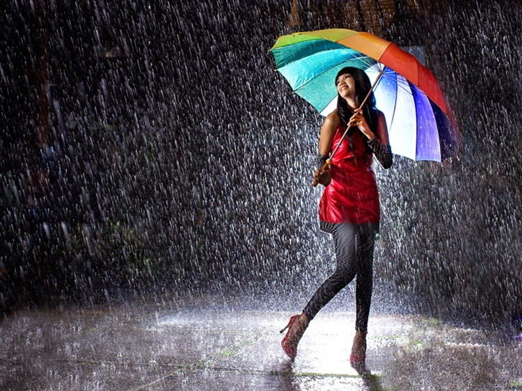 Girl Enjoying the Rain