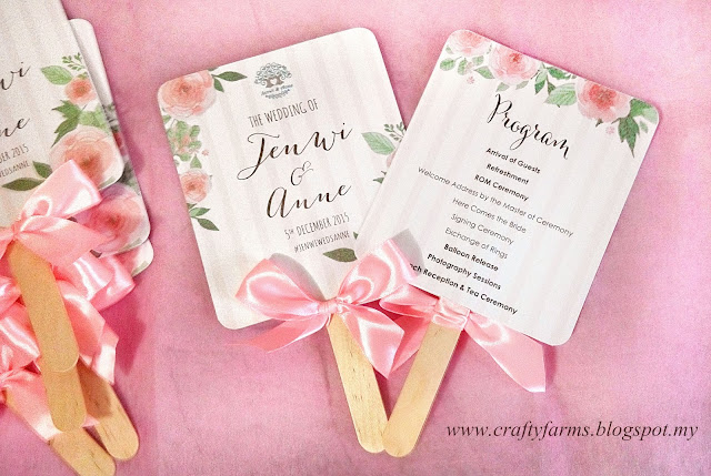 Watercolour Flower Church Ceremony Program Fan for Kuala Lumpur Malaysia Wedding