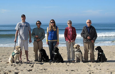 A few Guide Dogs for the Blind puppy raisers from LA Southwest Puppy Raising club stand on the beach with their guide dog puppies-in-training