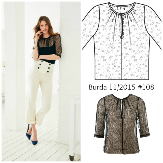 Burda 11/2015 #108 lace top www.loweryourpresserfoot.blogspot.com