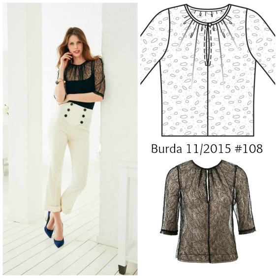 Burda 11/2015 #108 lace top www.loweryourpresserfoot.blogspot.com
