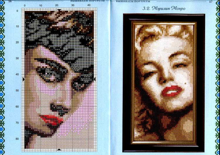Схемы вышивок своих портретов 379