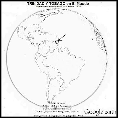 El Mundo. Ubicación de TRINIDAD Y TOBAGO en El Mundo, Google Earth, blanco y negro