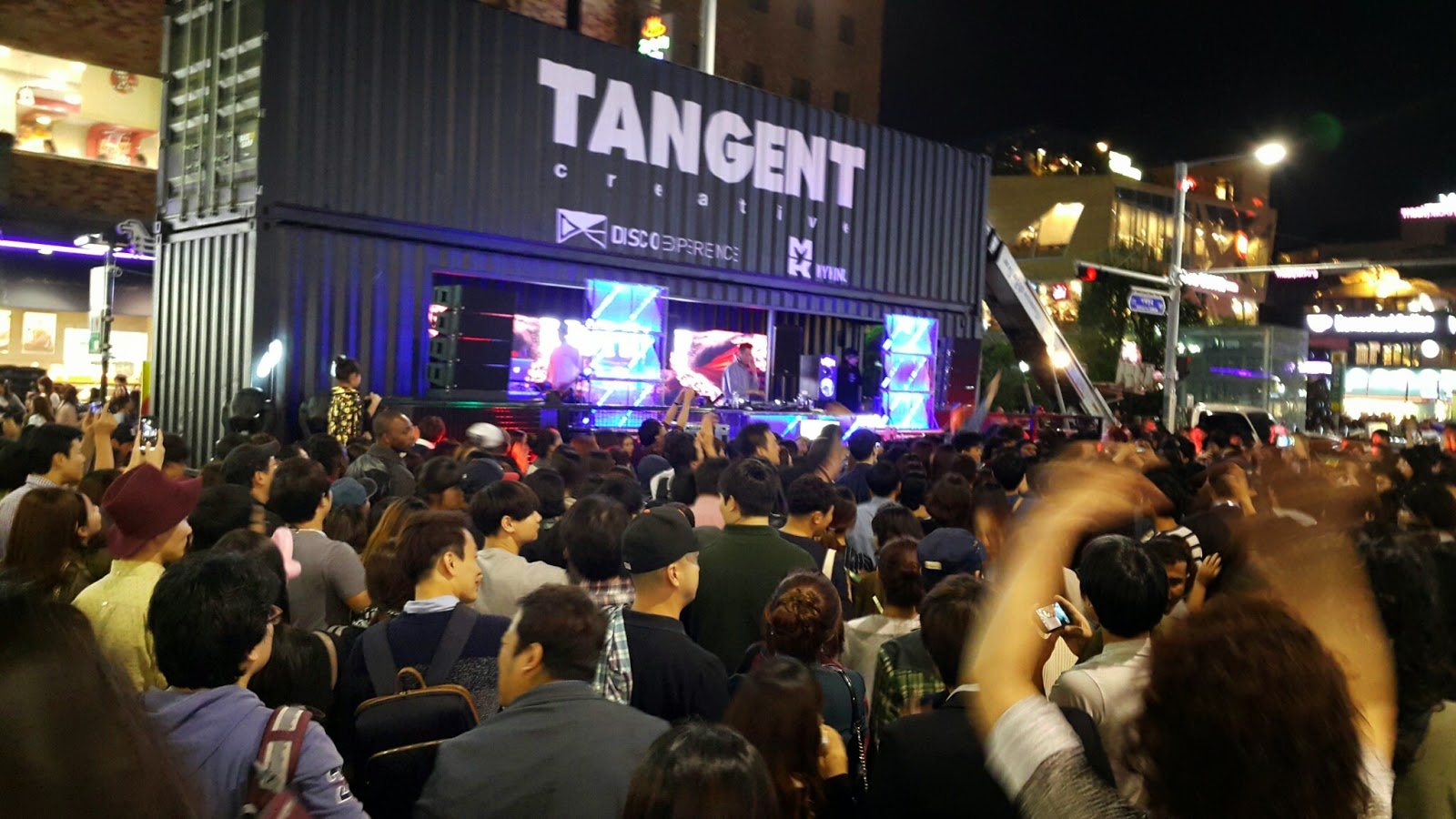 Dancing to the beat with the crowd in Itaewon