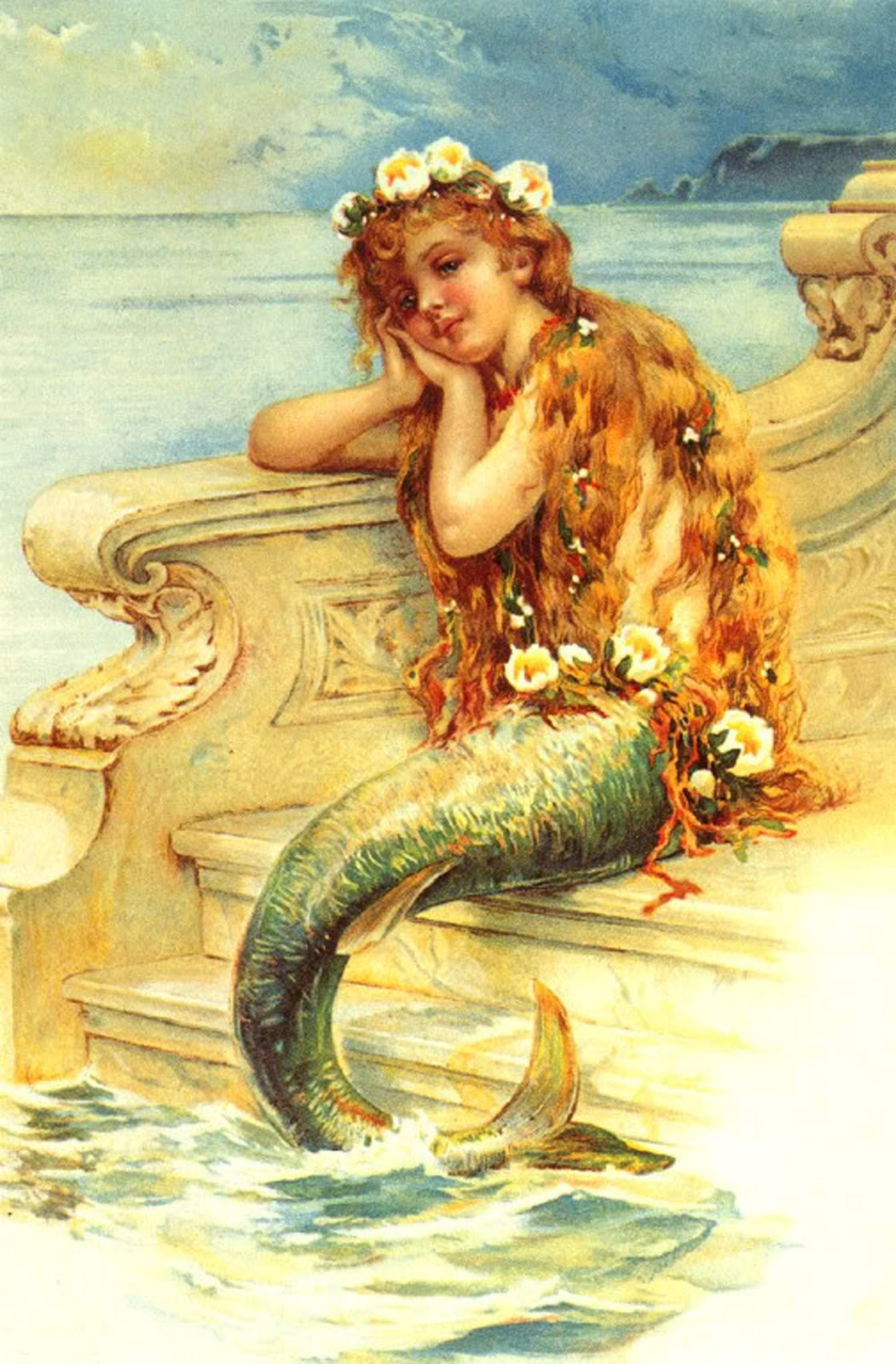 The artzee blog vintage little mermaid illustration printable for Classic love pictures