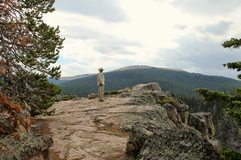 Papa at the top of Bucking Mule Falls, Bighorn Mountains, WY