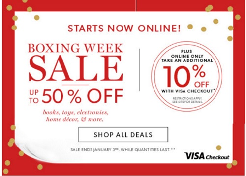 Chapters Indigo Boxing Week Sale Up TO 50% Off + Extra 10% Off Visa Checkout