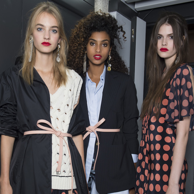 Imaan Hammam and supermodels backstage at Topshop Unique SS16